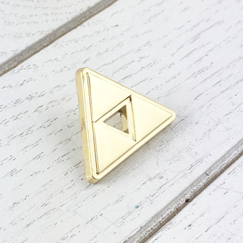 Golden,Triforce,Pin,with,Hollow,Centre,triforce, lapel pin, golden, hollow centre, open center, hat pin, legend of zelda, gamer, geek