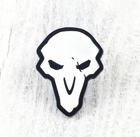 Overwatch,Reaper,Large,Enamel,Pin,overwatch, enamel pin, reaper, white, skull, logo, colour, metal, gamer, geek