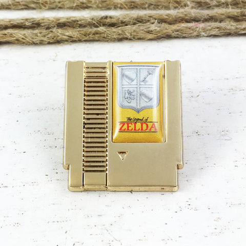 Legend,of,Zelda,Game,Cartridge,Pin,legend of zelda, game cartridge, lapel pin, pin, gamer, geek, hat pin, enamel pin, golden, small