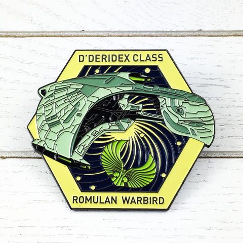 Romulan,Bird,of,Prey,Large,Enamel,Pin,Badge,star trek, romulan, bird of prey, warbird, fansets, enamel pin, badge, large, ship, ships of star trek collection, trekky, trekkie