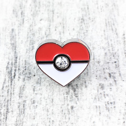 Pokéball,Heart,Mini,Pin,pokeball, enamel pin, mini, heart, pokemon, love, valentine, bling, gamer, geek, metal, girly