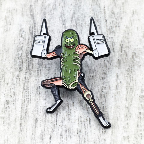 Rick,and,Morty,Pickle,Pin,rick and morty, enamel pin, badge, pickle rick, rat hands collectors, zen monkey studios