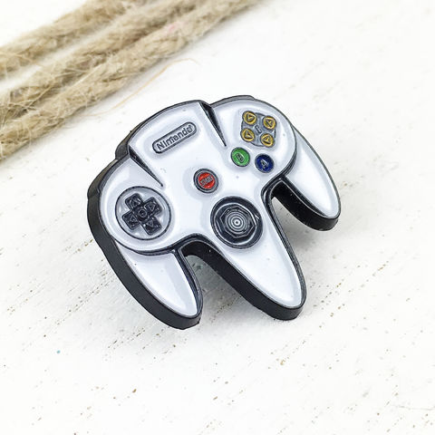 Nintendo,N64,Controller,Enamel,Pin,nintendo, N64, controller, enamel pin, badge, metal pin, tie tack, tie pin, colour, retro, gamer, geek, gaming, player