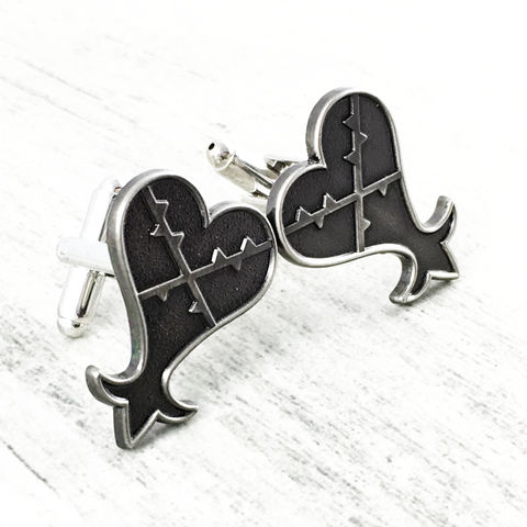 Kingdom,Hearts,Heartless,Cuff,Links,kingdom hearts, cuff links, cufflinks, heartless, wedding, geek, gamer, pewter, black