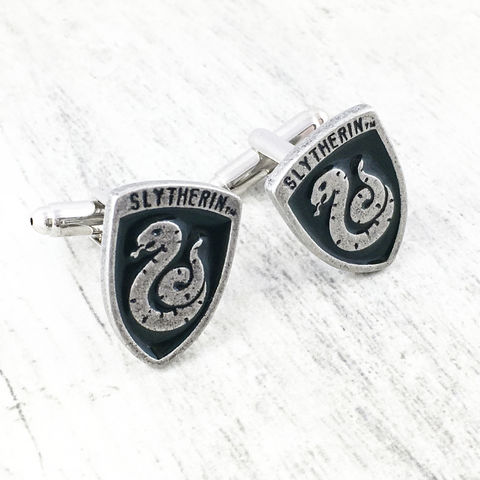 Harry,Potter,Slytherin,Cuff,Links,harry potter, cuff links, cufflinks, slytherin, hogwarts house, serpentard, boutons de manchettes, potterhead, harry potter wedding