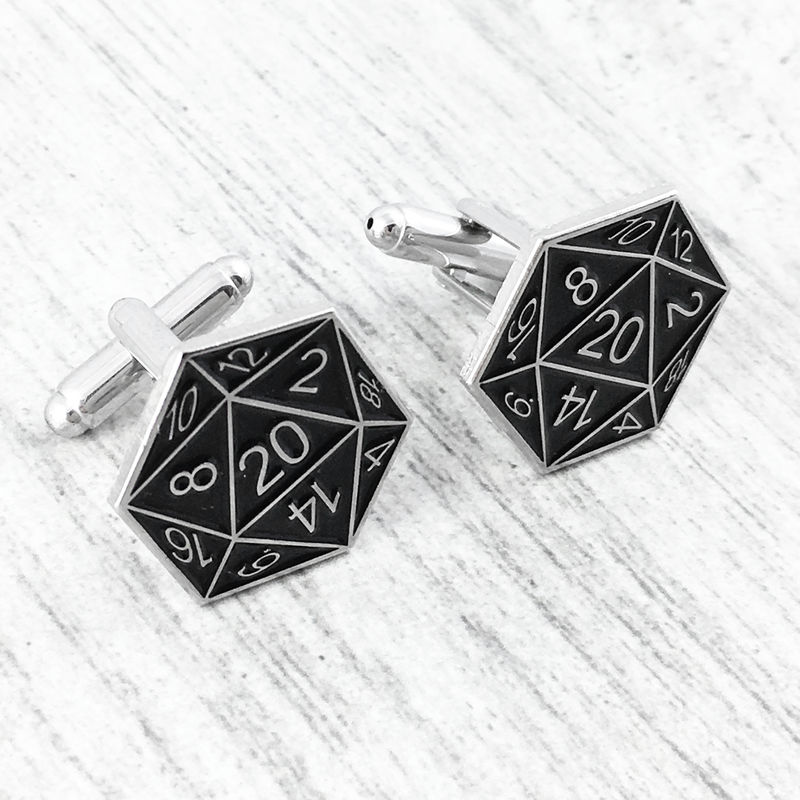 D20 Cuff Links - Black - product images  of