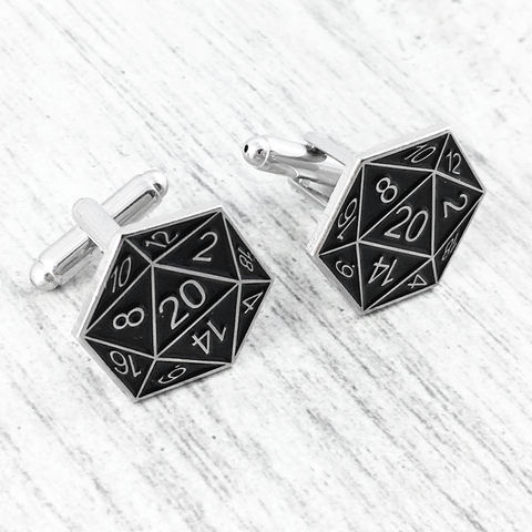D20,Cuff,Links,-,Black, cufflinks, cuff links, black, dungeons and dragons, dnd, d&d, tabletop gaming, gamer, geek, 20 sided die, dice
