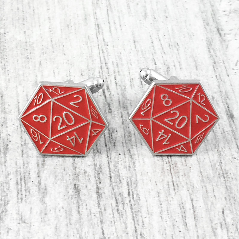 D20 Cuff Links - Red - product images  of
