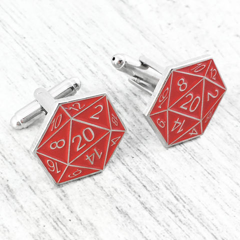 D20,Cuff,Links,-,Red, cufflinks, cuff links, red, dungeons and dragons, dnd, d&d, tabletop gaming, gamer, geek, 20 sided die, dice