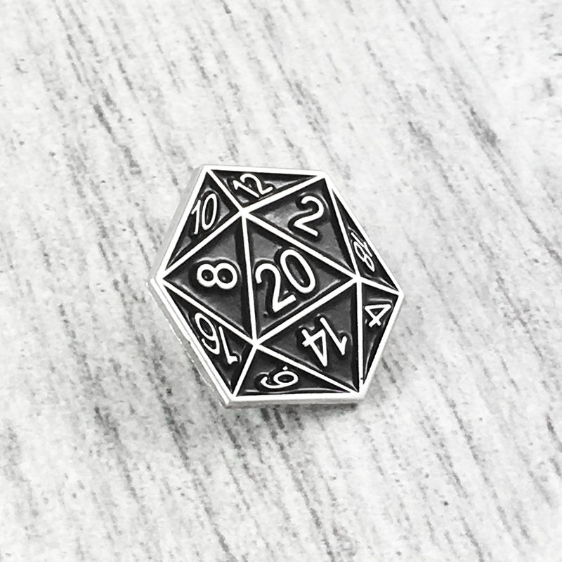 D20 Enamel Pin - Black - product images  of