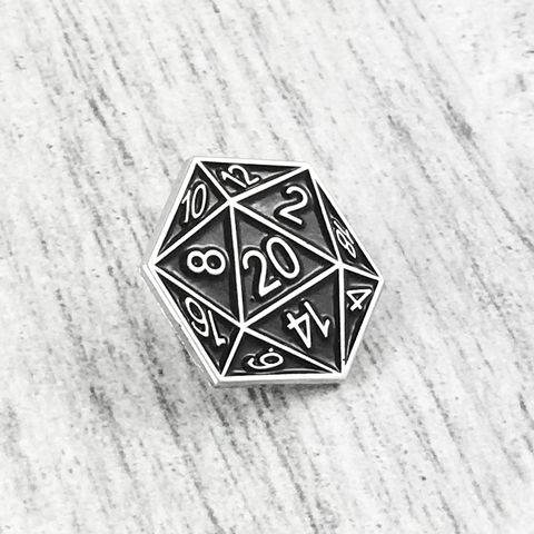 D20,Enamel,Pin,-,Black, enamel pin, black, dungeons and dragons, dnd, d&d, tabletop gaming, gamer, geek, 20 sided die, dice