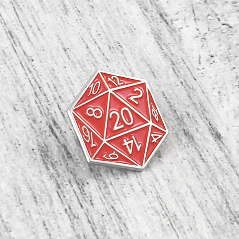 D20,Enamel,Pin,-,Red, enamel pin, red, dungeons and dragons, dnd, d&d, tabletop gaming, gamer, geek, 20 sided die, dice