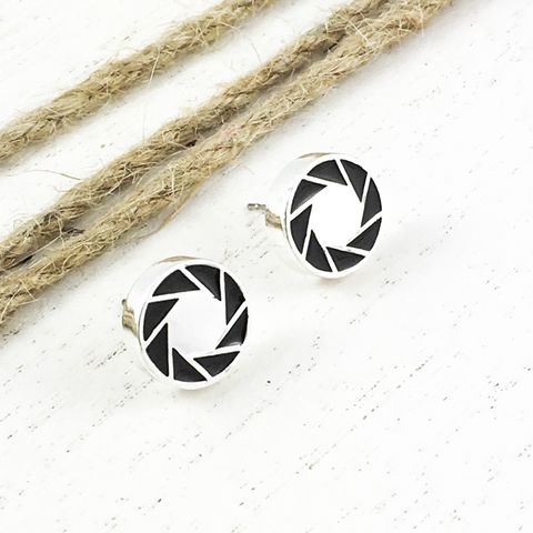 Portal,|,Aperture,Science,stud,earrings, portal ii, aperture science, studs, earrings, camera aperture, logo, silver, mens, geeky jewelry