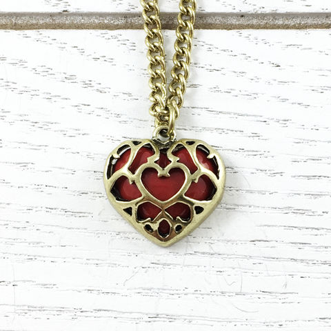Legend,of,Zelda,|,Heart,Container,Necklace,Legend of zelda, skyward sword, heart container, filigree, bronze and red, gamer girl, geeky