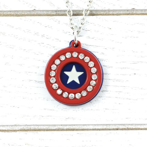 Captain,America,|,Bling,detail,necklace,Captain america, necklace, shield, classic, gem, bling, sparkle, colour, geeky jewelry, pendant, round