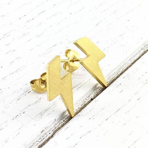 Golden,Lightning,Bolt,Studs,Lightning bolt, earrings, studs, gold, golden, thunder, lightning, harry potter, flash, shazam, thor, stainless steel