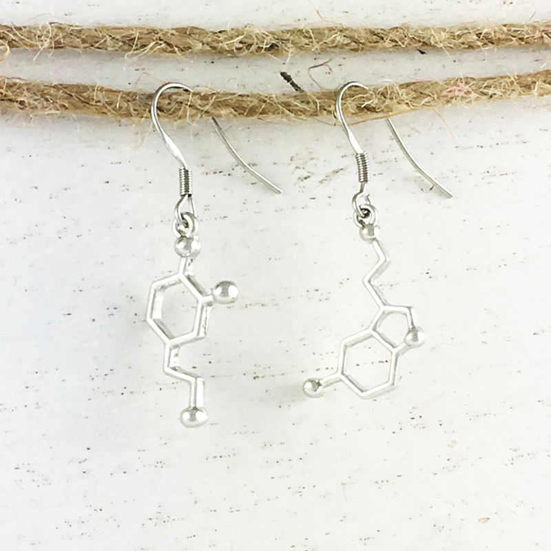 Dopamine and Serotonin Molecule Earrings - product images  of