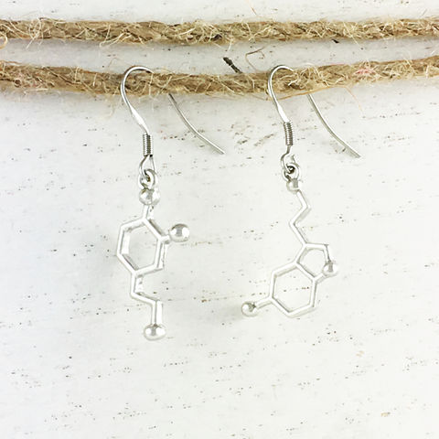 Dopamine,and,Serotonin,Molecule,Earrings,molecule, earrings, science, dopamine, serotonin, serotonine, dangle, drop, chemistry, biochemistry, geeky, nerdy, teacher