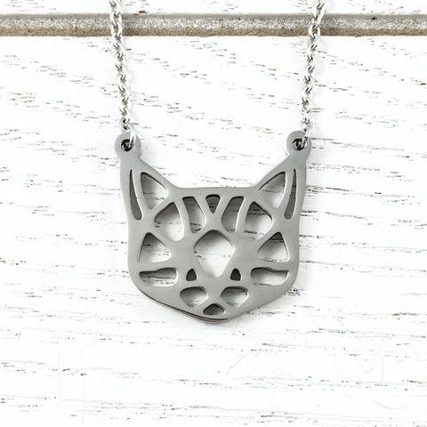 Origami-style,Cat,Face,Necklace,cat, origami, necklace, stainless steel, silver, kitty, crazy cat lady, cat face, filigree, neko