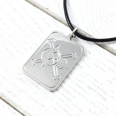 One,Piece,Flag,Necklace,onepiece, one piece, necklace, jolly roger, skull, flag, straw hat pirates, silver, dog tag, mens, animé