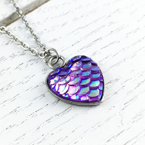 Purple,Mermaid,Scales,Necklace,mermaid, scales, purple. blue, necklace, pendant, silver, stainless steel, iridescent, sparkly, pear, fish scales