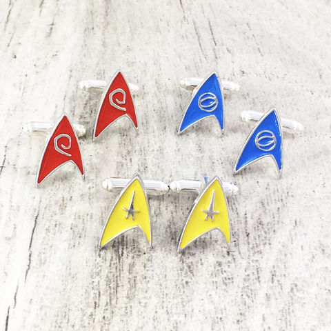Star,Trek,Insignia,Cuff,Links,star trek, cuff links, cufflinks, insignia, starfleet, star fleet, delta, original series, TOS, science blue, command yellow, operations red, engineering,, trekkie, trekky, trekie, geeky, jewelry