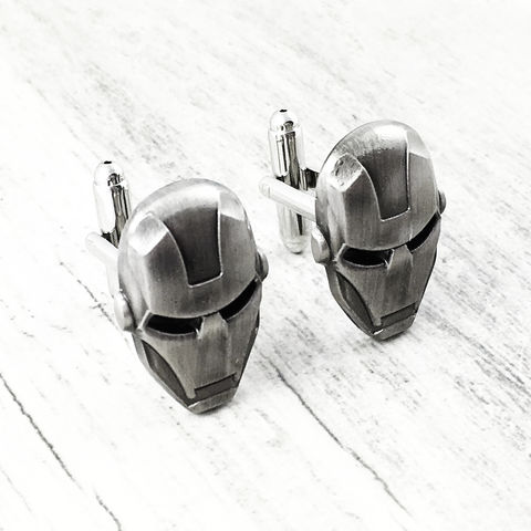 Iron,Man,Pewter,Cuff,Links,iron man, cuff links, cufflinks, iron man helmet, pewter, black, comics, comic book geek, mens jewelry