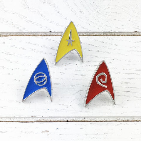 Star,Trek,Insignia,Enamel,Pin,Set,star trek, enamel pin, set, insignia, starfleet, star fleet, delta, original series, TOS, science blue, command yellow, operations red, engineering,, trekkie, trekky, trekie, geeky, jewelry
