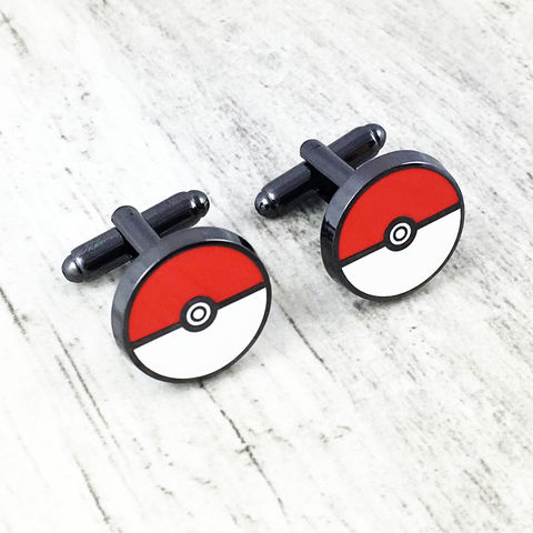 Pokéball,Stainless,Steel,Cuff,Links,pokeball, pokemon, cuff links, pokemon go, pokémon, cufflinks, wedding, stainless steel, geeky, gamer, enamel