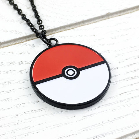 Pokéball,Stainless,Steel,Necklace,,large,pokémon, pokemon, pokeball, necklace, pendant, charm, stainless steel, surgical steel, 316L, small, color