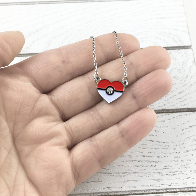 Heart-Shaped Pokéball Necklace - product images  of