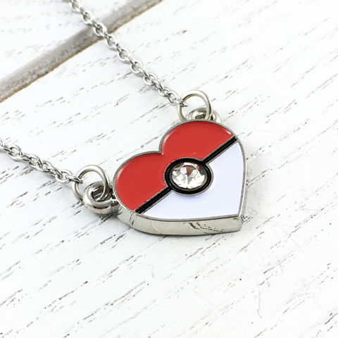 Heart-Shaped,Pokéball,Necklace,Pokemon, jewelry, necklace, official, pendant, heart, valentine, pokeball, pokéball, pokemon go, stainless steel