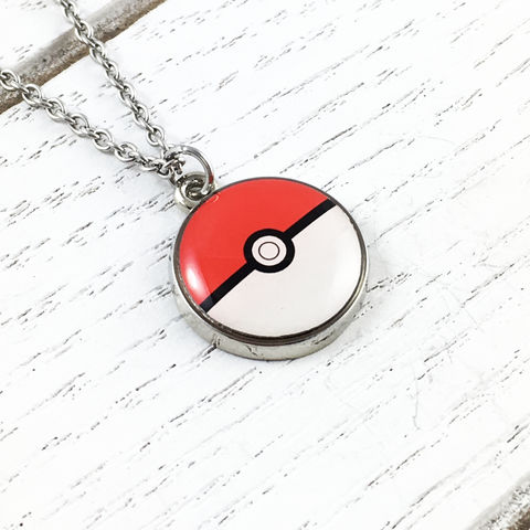 Pokéball,Small,Stainless,Steel,Necklace,pokémon, pokemon, pokeball, necklace, pendant, charm, stainless steel, surgical steel, 316L, small, color