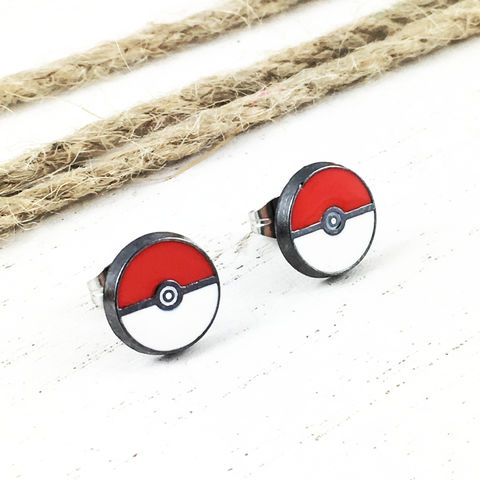 Pokéball,Stud,Earrings,pokemon, pokémon, jewelry, jewellery, pokemon go, pokéball, pokeball, earrings, studs, men, women, 316l, stainless steel