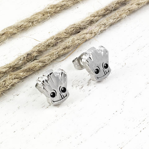 Baby,Groot,Stud,Earrings,groot, earrings, baby groot, studs, mens, small, stainless steel, surgical steel, silver, guardians of the galaxy