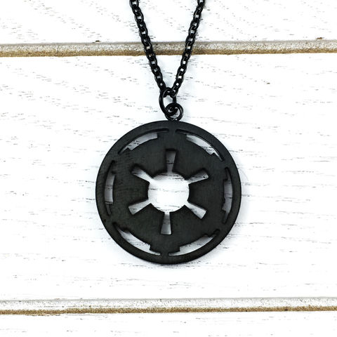 Star,Wars,Black,Empire,Necklace,star wars, empire, symbol, necklace, black, stainless steel, imperial, galactic empire, pendant, long chain, geeky, jewelry