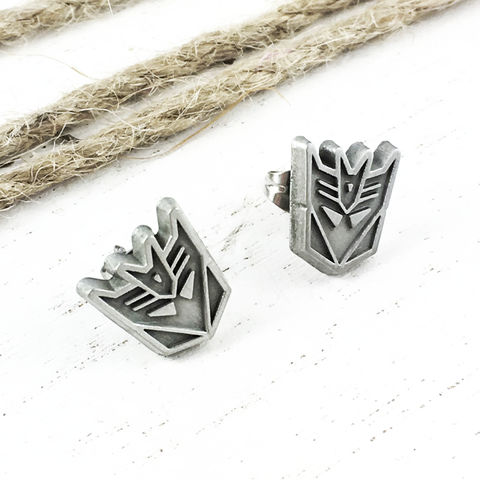 Transformers,Decepticons,Stud,Earrings,transformers, earrings, decepticons, studs, mens, decepticon, megatron, silver, stainless steel