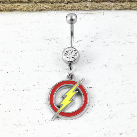 Flash,Symbol,Belly,Button,Ring,the flash, belly button barbell, belly ring, navel ring, body piercing jewelry, stainless steel, red yellow logo, classic, symbol, geeky, comic book nerd