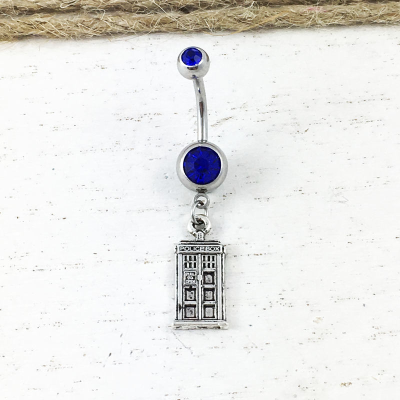 Police Box Navel Belly Button Ring inspired by Dr Who and the TARDIS - product images