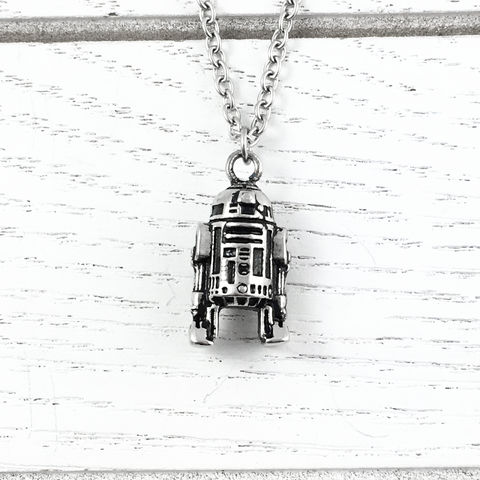 Star,Wars,R2D2,3D,Necklace,star wars, r2d2, necklace, artoo, 3D, stainless steel, pendant, charm, silver, geeky jewelry