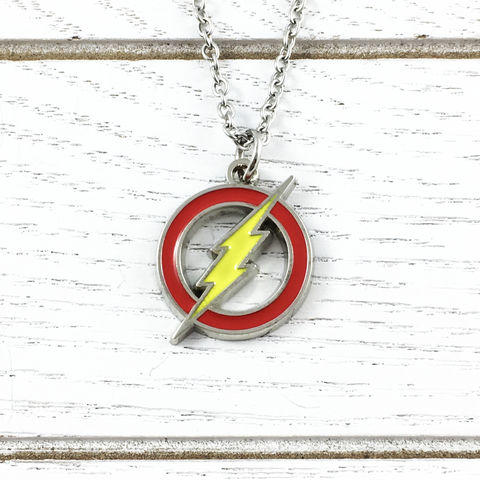 The,Flash,Symbol,Necklace,the flash, necklace, pendant, stainless steel, red yellow logo, classic, symbol, geeky, comic book nerd