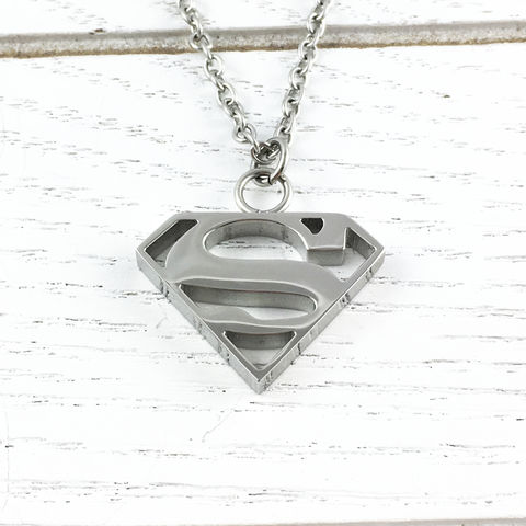 Superman,Stainless,Steel,Necklace,superman, super man, necklace, pendant, stainless steel, charm, chain, mens, silver, geeky