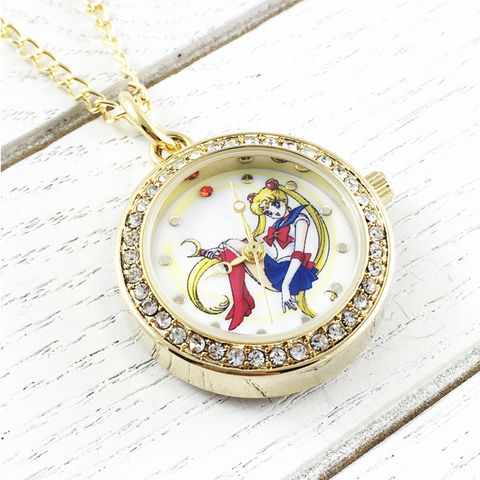 Sailor,Moon,Watch,Necklace,sailor moon, watch, necklace, pendant, pink, gold, charm, moonie, geeky jewelry