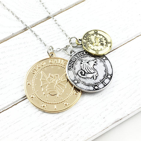 Harry,Potter,Gringotts,Coins,Necklace,harry potter, necklace, gringotts, coins, bank, sickle, knut, galleon, daigon alley