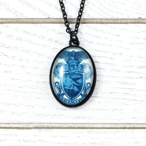 Harry,Potter,Ravenclaw,Cameo-Style,Necklace,Harry potter, necklace, house, ravenclaw, pendant, cameo, fancy, black, chain, geek chic, serdaigle