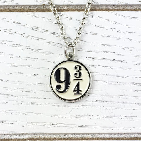Harry,Potter,Platform,9-3/4,Enamel,Necklace,harry potter, 9-3/4, necklace, pendant, charm, platform nine and three quarters, hogwarts express, train platfrom, dangle, enamel, geeky, bookish, silver