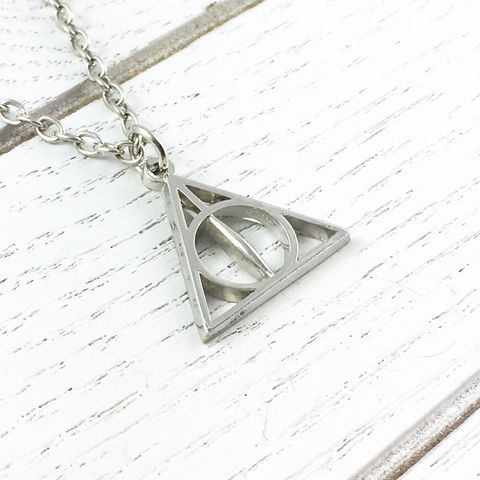 Harry,Potter,Deathly,Hallows,Necklace,triangle, necklace, pendant, charm, silver, harry potter, deathly hallows, geek, bookish, nerdy, jewelry, chain, geek chic, potterhead