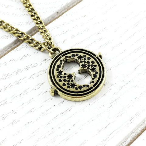 Harry,Potter,Mini,Timeturner,Necklace,harry potter, timeturner, necklace, small, hermione granger, spinning, moving, metal, cosplay, time turner