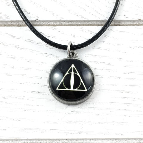 Deathly,Hallows,Cabochon,Necklace,harry potter, necklace, pendant, deathly hallows, image, dome, cabochon, nerdy, geeky, triangle