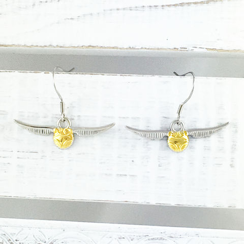 Harry,Potter,Golden,Snitch,Dangle,Earrings,harry potter, snitch, earrings, golden snitch, dangle, stainless steel, quidditch, potterhead